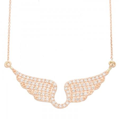 Angel wings diamond Necklace in 14K