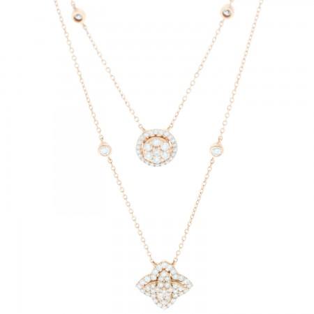 Gargantilla de diamantes moderna en doble hilo en 14K
