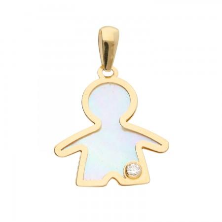 Boy's pendant with tiny diamond 0.03 ct in 14k