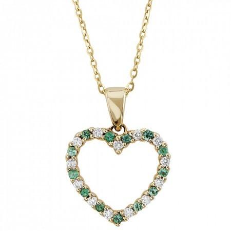 Emerald heart Pendant 0.18 ct in 14k