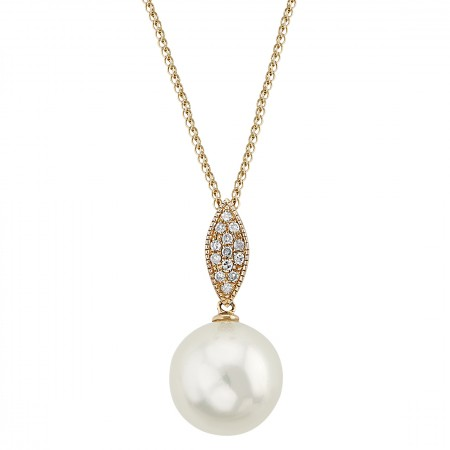 Diamond Necklace with pearl 11.00 mm set in 14K