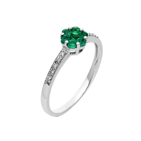 """Ring from our exclusive line """"Fancy"""" in white gold and emeralds"""