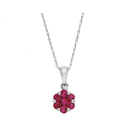 Flower rubie stone design Pendant in 14K 0.33 ct