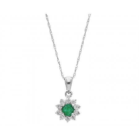 New pendant with emerald stone 0.32 ct in 14k