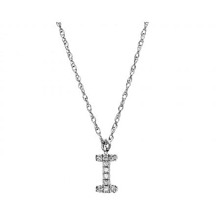 """Gargantilla con letra """"I"""" de diamantes en oro blanco 14K"""