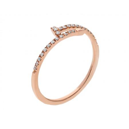Anillo de diamantes 0.20 ct en diseño clavo oro rosa de 14k