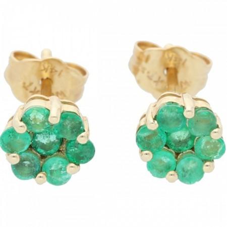Aretes con esmeraldas en forma de flor de 14K