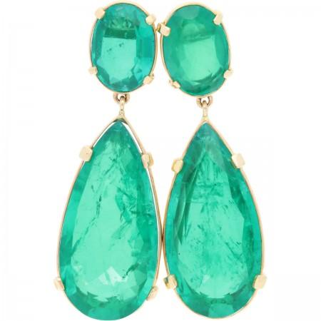 Aretes de esmeraldas naturales en 14K