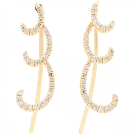 Long diamond earrings in 14K 0.16 ct